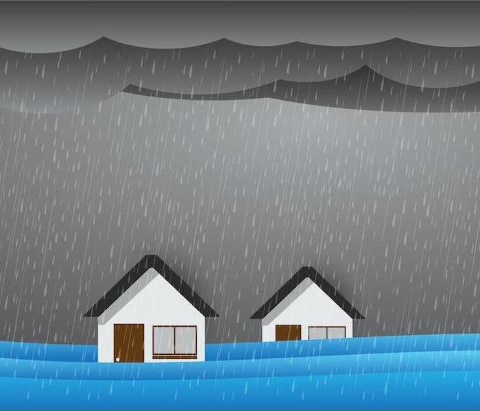 Storm flooding cartoon of two houses in rain