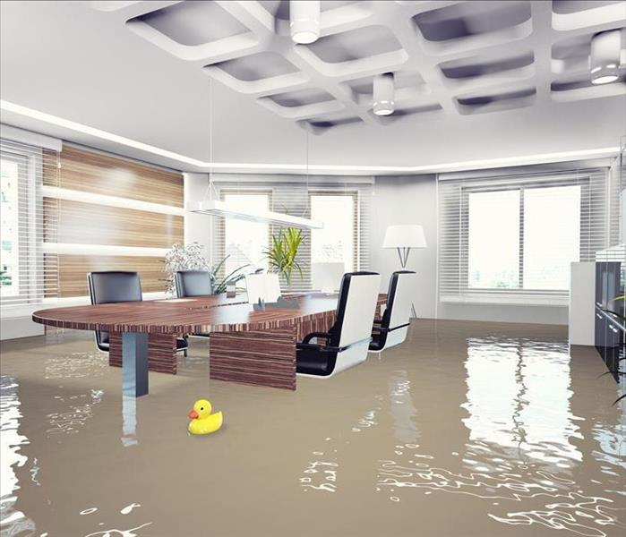 Office boardroom with brown water halfway up the table and chairs. Windows with blinds looking outside. Little yellow duck.