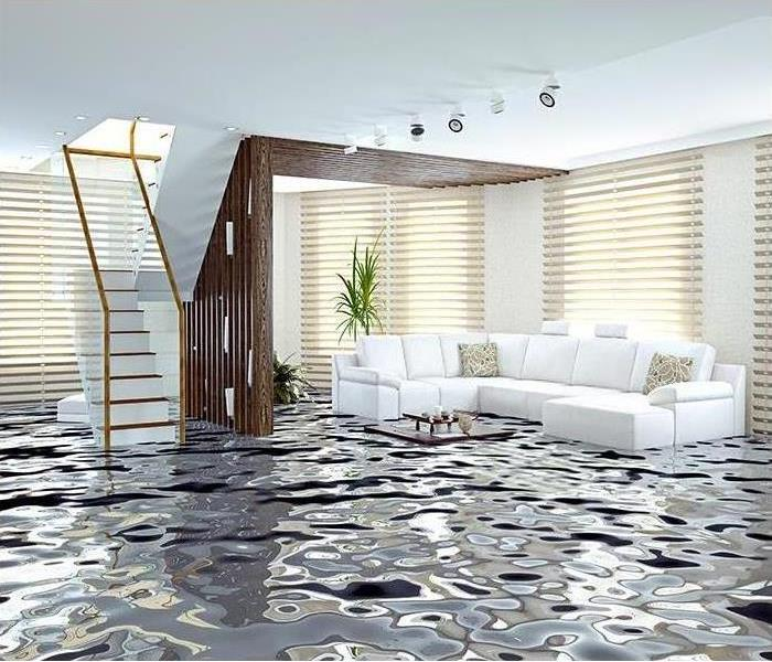 water flooding a living room