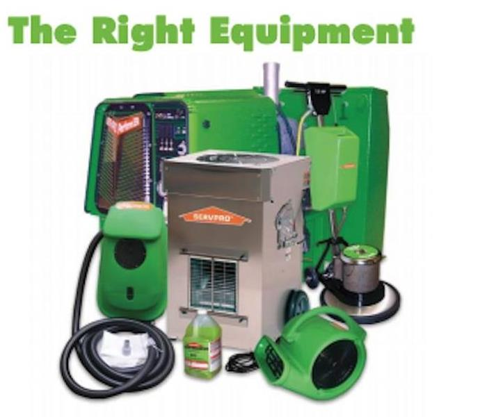 A group of SERVPRO equipment on a white background.